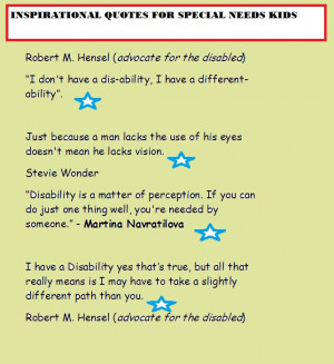 INSPIRATIONAL QUOTES FOR SPECIAL NEEDS KIDS
