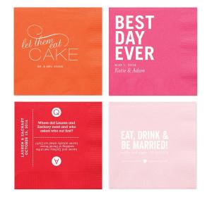 personalized napkin designs quotes quiz orange pink color wedding ...