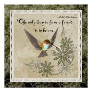 friendship_quote_elegant_hummingbird_design_poster ...