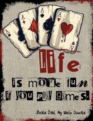 Wall Art Print -Gambling Quotes-Cards-Chance-Play…