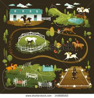 Equestrian vector illustrations of horse life, farming, racing ...