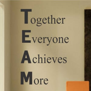 Inspirational Vinyl Wall Lettering Definition of TEAM
