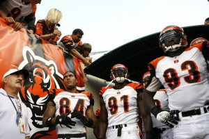 84 Robert Geathers 91 and Rashad Jeanty 93 of the Cincinnati Bengals ...