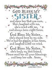 God Bless My Sister Prayer Card By Abbey More