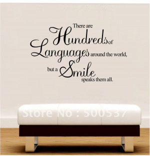 ... quotes, Fashion Decorative art mural wall stickers,20pcs/lot--a smile
