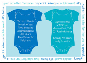 twin blue onsies baby shower invitation nothing is sweeter than twins ...
