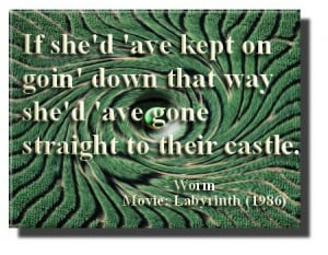 mazes #castle .. Labyrinth movie quote; the worm said..