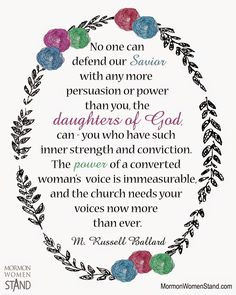 ... you, the daughters of God, can.