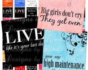 Instant Download - SASSY Quotes (2 x 2 Inch) Images SALE - Digital ...