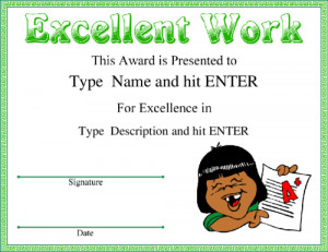 Excellent Work award with modern green frame, featuring graphic of a ...