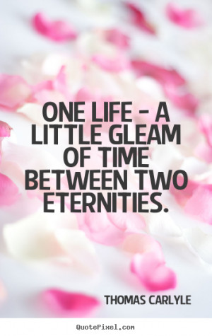 ... One life - a little gleam of time between two eternities. - Life quote