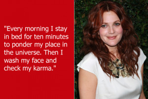 Drew Barrymore apparently feels that checking your karmic level is as ...