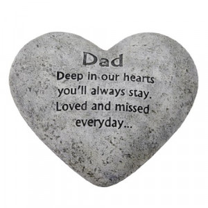 ... In Loving Memory Graveside Heart Plaque Stone - Dad Grave Memorial