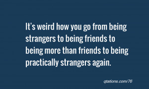 Being Weird With Friends Quotes It's weird how you go from