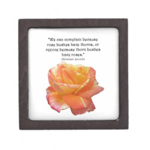 Red Yellow Variegated Rose and Thorn Quote Premium Jewelry Boxes