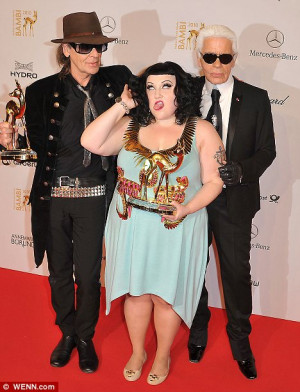 Frenemies: Beth Ditto, with Karl Lagerfeld (right), hit back at the ...