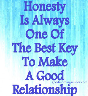 Relationship Quotes : Honesty is always one of the best key to make a ...