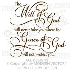The WILL OF GOD, Grace of God Quote Vinyl Wall Decal Inspirational ...