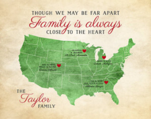 Gift for Family, Family Quote, Long Distance Family Map 8x10 Print ...