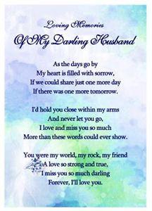 Memorial Verses Husband Ebay Itm