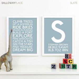 Baby Boy Nursery Art Print Playroom Rules Subway Art Quotes Baby Boys ...