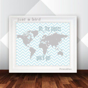 Oh the places you will go - Dr Seuss quote, baby boy nursery decor ...
