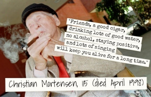 Christian Mortensen enjoys a birthday cigar during his 115 birthday ...