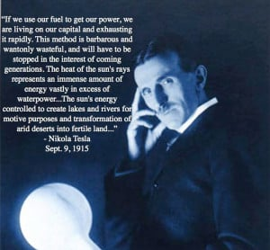Nikola Tesla Quote on Solar Energy