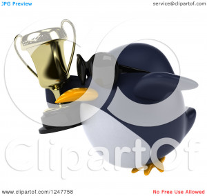 Clipart of a 3d Penguin Wearing Sunglasses Flying with a Trophy Cup 2 ...
