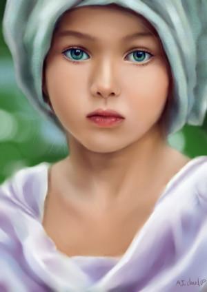 Green eyes girl by AJ-cloud