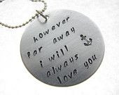 Inspirational Quote Jewelry Hand Stamped Navy Anchor Military Necklace ...