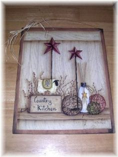 Amazon.com : Country Kitchen Sheep Barn Stars Primitive Country Wooden ...