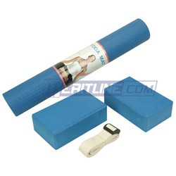 Personal Health & Fitness Yoga Set in Blue. Comes with 1 Non-Slip PVC ...