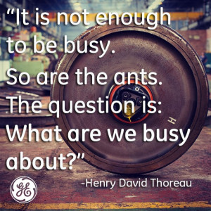 It is not enough to be busy. So are the ants. The question is: What ...