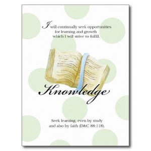LDS YW Value Card - Knowledge Post Cards