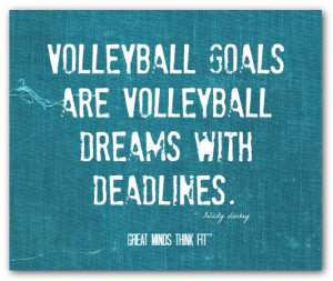Volleyball goals are volleyball dreamswith deadlines.