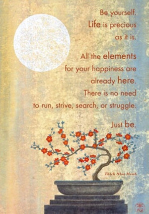 Be yourself. Life is precious as it is. All the elements for your ...