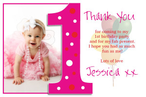 10 Personalised First Birthday Thank you PHOTO Cards N192