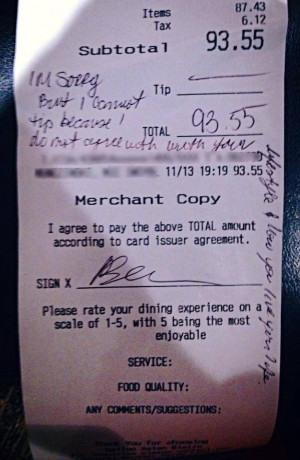The waitress sent a photo of the receipt to Have A Gay Day's ...
