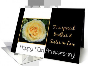 50th Wedding Anniversary card for Brother and Sister in Law - Yellow ...