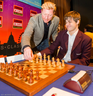 Boris Becker and Magnus Carlsen during London Chess Classic