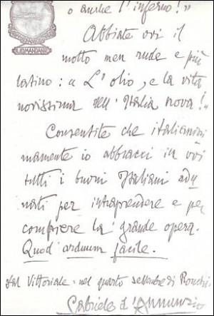 Image search: Lettera di Gabriele D'annunzio