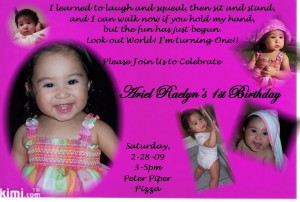 1st Birthday Poems for cards to recognize Baby's first birthday in ...