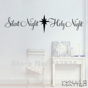 ... Decor Silent Night Holy Night Wall Stickers Wall Quote Decals 125x30cm
