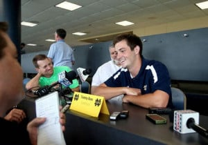Quarterback Tommy Rees speaks with the media at Football Media Day ...