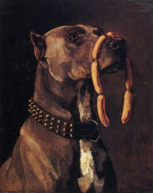 Wilhelm Trübner: Dogge mit Würsten. Ave Caesar morituri te salutant ...