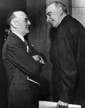 ... White (left) and John Maynard Keynes at the Bretton Woods Conference