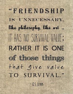 Lewis friendship quote typography by JenniferDareDesigns, $8.00