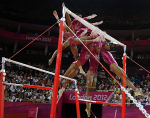 ... uneven bars during the artistic gymnastics women's all-around