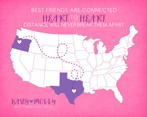 Gift for Best Friend, Long Distance Friendship Quote - 8x10 Map Print ...